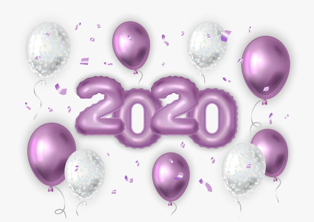 Balões realistas com confetes. 2020 ano novo.