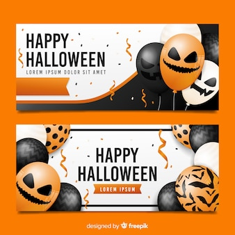 Balões realistas com rostos para banners de halloween