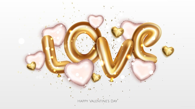 Balões realistas de carta amam a cor dourada com confetes brilhantes