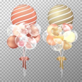 Balões realistas de cobre e ouro