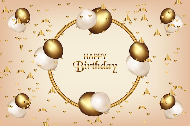 Balões realistas de fundo de feliz aniversário