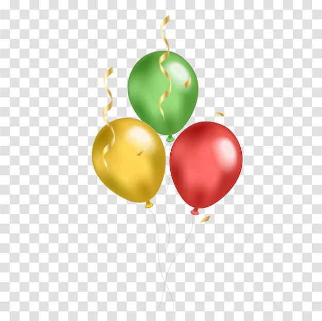 Balões realistas do black history month amarelos, verdes, vermelhos. ilustração vetorial