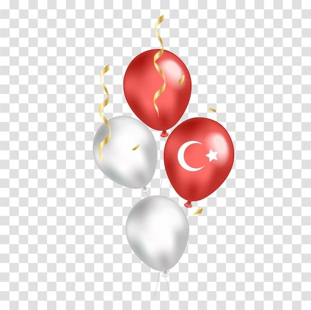 Balões realistas do dia nacional da turquia com bandeira em fundo transparente. dia da independência. ilustração vetorial.