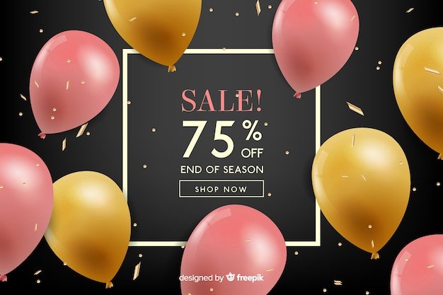 Balões realistas flutuando fundo de vendas