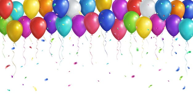 Balões realistas multicoloridos e confetes caindo