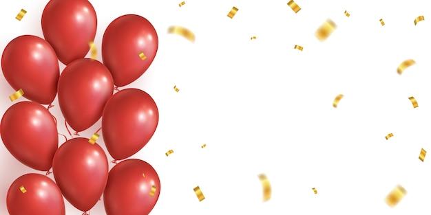 Balões realistas vermelhos, fundo de confetes caindo dourado