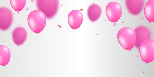 Balões rosa com confete em fundo cinza para cartão de aniversário