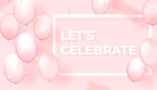 Balões rosa com moldura retangular sobre fundo rosa claro