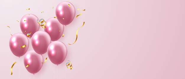 Balões rosa e banner de confete dourado