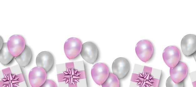 Balões rosa e brancos em fundo branco