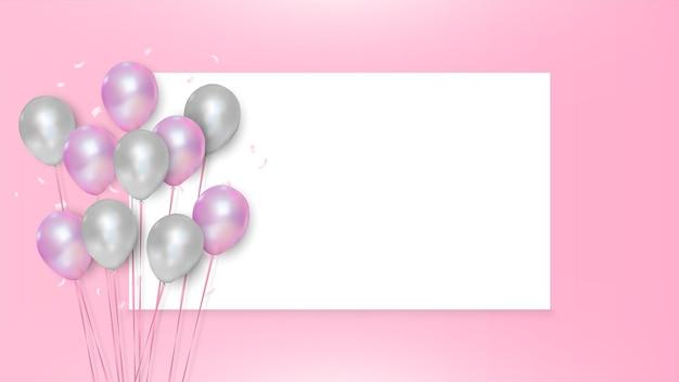 Balões rosa e brancos em fundo wihite vazio