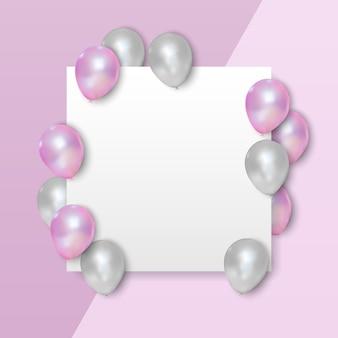 Balões rosa e brancos em um cartão branco vazio