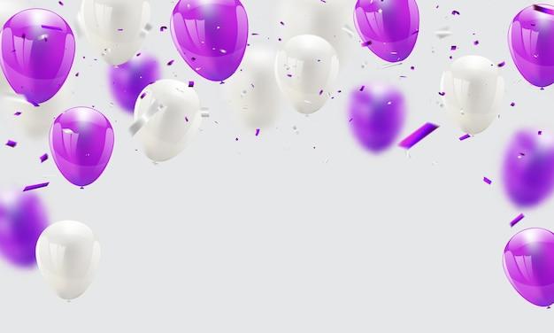 Balões roxos confetes e fitas,