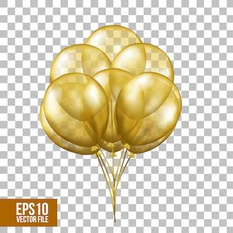 Balões transparentes de ouro voando 3d
