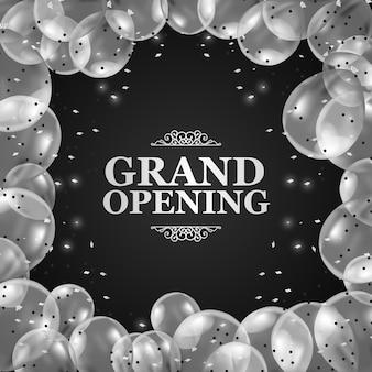 Balões transparentes de prata 3d com moldura de confete e fundo preto para inauguração