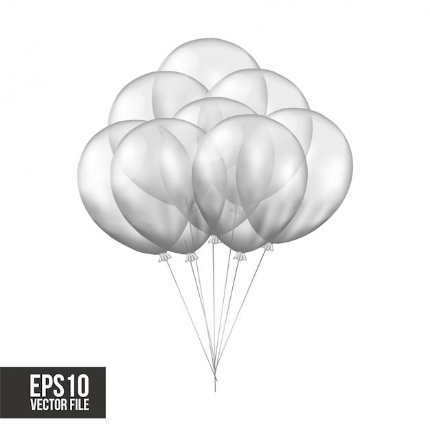Balões transparentes de prata voando 3d