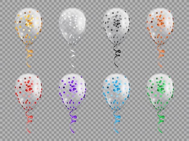 Balões transparentes em forma de círculo com brilhos