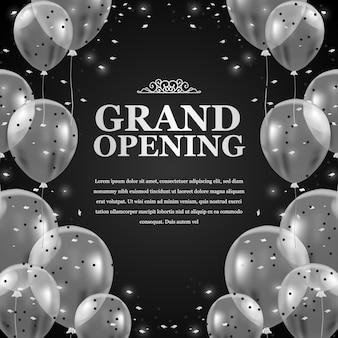 Balões transparentes voadores de prata 3d com confete e fundo preto para o anúncio do cartaz de inauguração