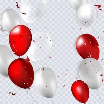 Balões vermelhos, brancos e cinza