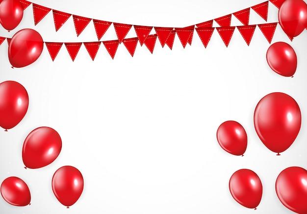 Balões vermelhos brilhantes e fundo flaf