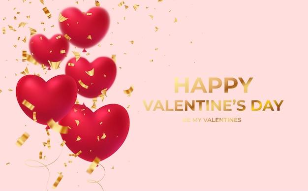 Balões vermelhos brilhantes em formato de coração com inscrição de confetes brilhantes dourados feliz dia dos namorados