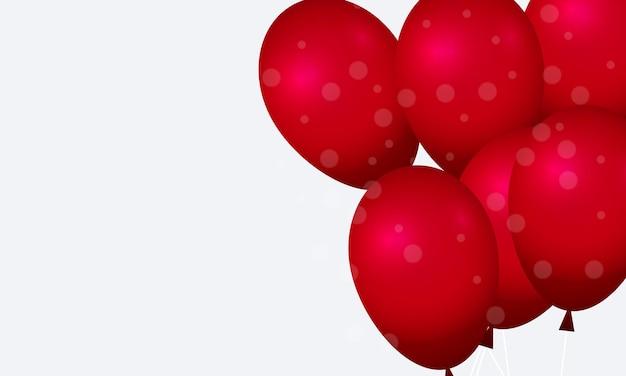 Balões vermelhos com círculo borrado em fundo branco. design para cartaz, banner de sites.