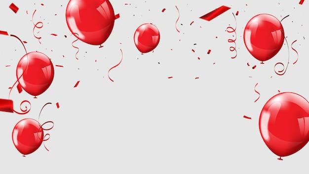 Balões vermelhos, confetes conceito design plano de fundo
