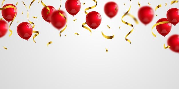 Balões vermelhos confetes dourados brilham