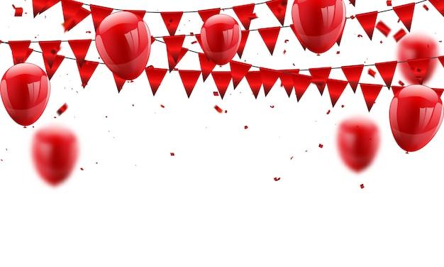 Balões vermelhos e conceito de confete.