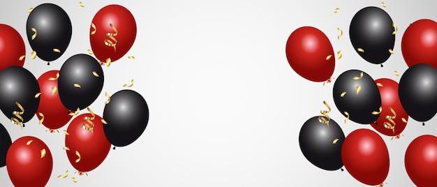 Balões vermelhos e pretos isolados no branco.