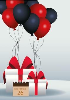Balões vermelhos e pretos, sacolas para presentes e calendário sobre cinza