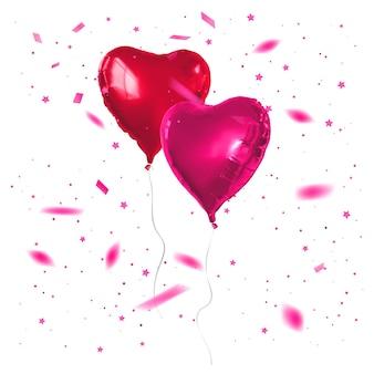 Balões vermelhos em forma de coração.
