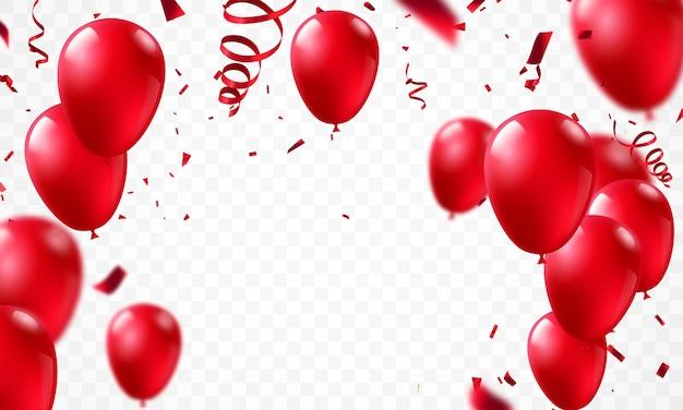 Balões vermelhos, feriado do modelo de design de conceito feliz dia dos namorados, ilustração do vetor de celebração do fundo.