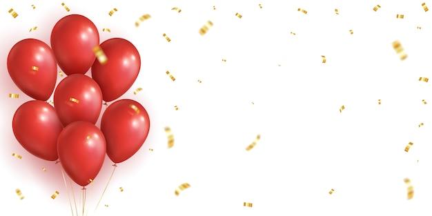 Balões vermelhos, fundo de confetes caindo dourado