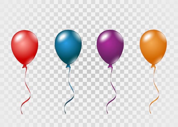 Balões voando. balões coloridos em um fundo transparente.