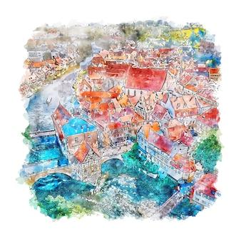 Bamberg alemanha esboço em aquarela.