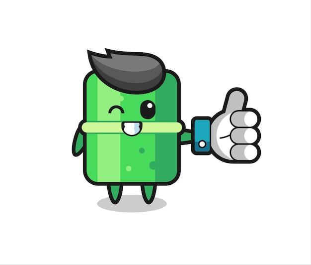Bambu fofo com símbolo de polegar para cima de mídia social, design de estilo fofo para camiseta, adesivo, elemento de logotipo