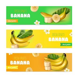 Banana banners horizontais realistas