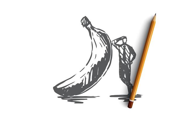 Banana, comida, fruta, conceito orgânico e fresco. mão desenhada homem de fato fica perto do esboço do conceito de banana. ilustração.