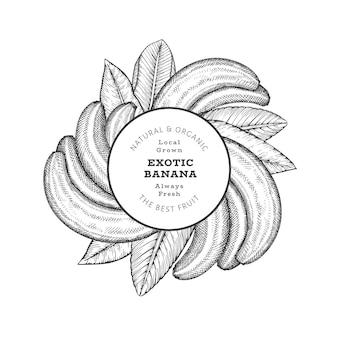 Banana de estilo esboço desenhado de mão. ilustração de frutas frescas orgânicas. modelo retrô de frutas exóticas