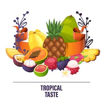 Banana de maçã frutada e fatias frescas de mamão exótico de ilustração de laranja suculenta tropical
