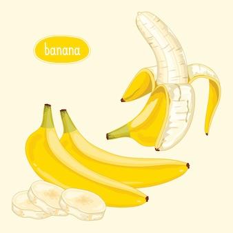 Banana descascada em bege