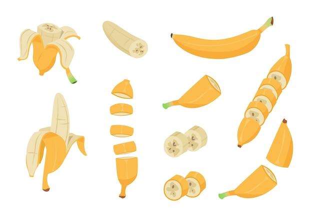 Banana dos desenhos animados. frutas tropicais saudáveis, casca de banana, elementos de clip-art de design simples e descascados