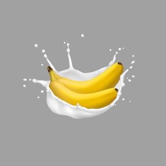 Banana e leite respingo, estilo 3d