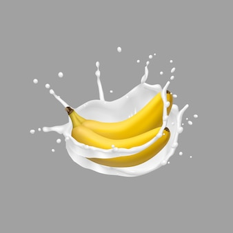Banana e leite respingo, vetor ícone 3d