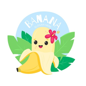 Banana fofa com logotipo de personagem de flor