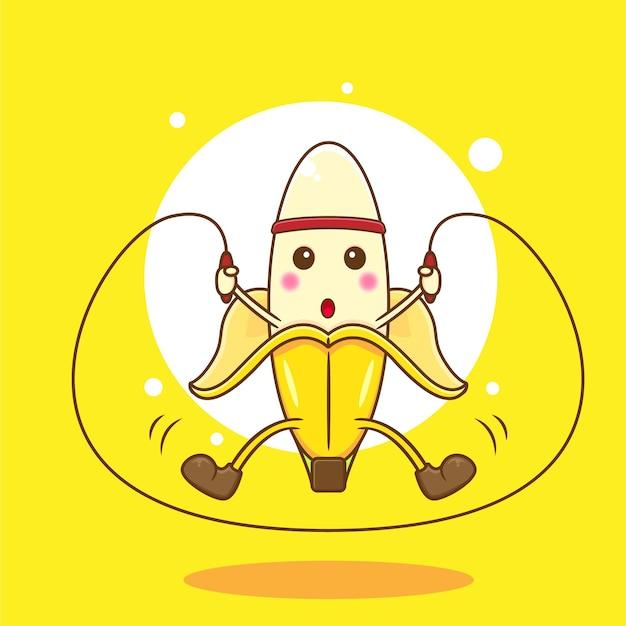 Banana fofa jogando corda pulando