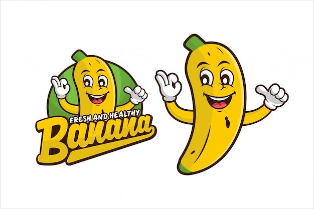 Banana fresca e saudável design logo