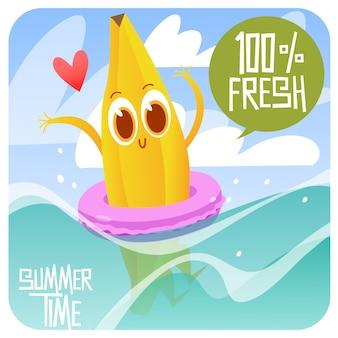 Banana, natação, fundo