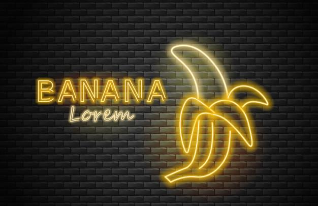 Banana neon, amarelo, frutas de verão, luz de neon, fundo de tijolo